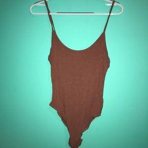Burgandy Thong Bodysuit